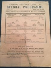 Arsenal V Brentford 16/05/1942 London War Cup Semi-Final Programme