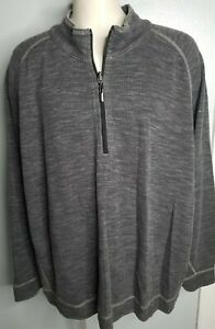 Mens 4XL Tommy Bahama Sweater Gray 1/4 Zip Pullover Oversized Relaxed