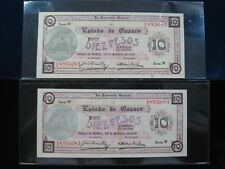 MEXICO OAXACA 10 PESO 1916 S957 CONSECUTIVE PAIR MEXICAN 4# BANKNOTE PAPER MONEY