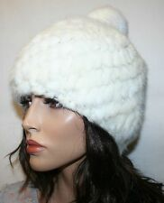 Angela & William Knitted Mink and Rabbit Winter Hat with PomPom, White Off