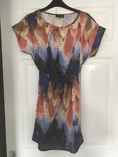 Warehouse Funky Patterned Bright Dress, Size 8!