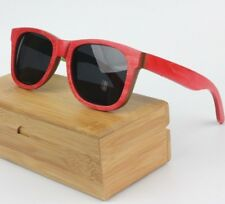 Bamboo Red Retro Square Polarised Skateboard Sunglasses With Wood Case