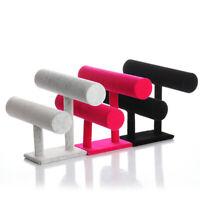 2-Tier Bangle Bracelet Display Holder T-Bar Stand Black Velvet Showcase St Jd