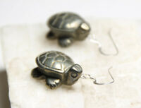 """Pyrite Turtles Natural Golden Gemstone .925 Sterling Silver Earrings 1.25"""" Gold"""