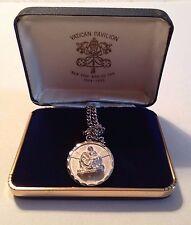 NY World's Fair Vatican Pavilion Pieta Sterling Silver Pendant, 24-inch chain