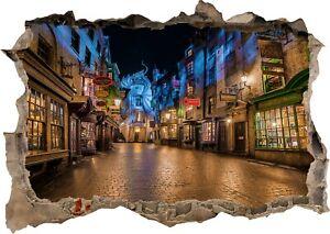 Harry Potter Castle Diagon Alley Wizard 3d Effect Window Wall Sticker Poster 655