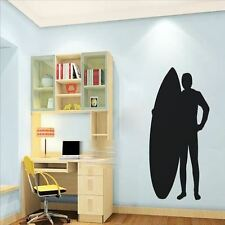Huhome PVC Wall Stickers Wallpaper Surfboard surfing silhouette home decor livin