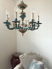 Bronze chandelier turquoise and gold