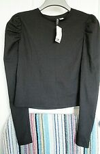NEW + Tags H&M Divided Long PUFF SLEEVE Stretch top size L Black