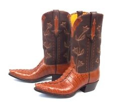 Stallion Alligator Cowboy Boots - Women's Sz 9.5M Cognac Pee Wee Calf Crocodile