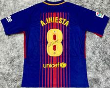 Barcelona Andres Iniesta Signed Soccer Jersey - Beckett BAS COA Some Bleeding