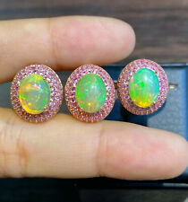 NATURAL FIRE OPAL 10X8 PINK SAPPHIRE GD PLATED STERLING SILVER925EARRINGS RING