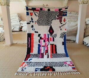 "Azilal rug 8'10""x4'10 Wool Berber Moroccan Beni Ourain Rug Carpet handmade wool"