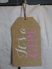 Its A Girl Door Hanger Tag New Born 19.5 X 11.5