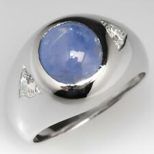 Men's Vintage Star 6.06 Carat Oval Cabochon Cut With 925 Sterling Silver Ring