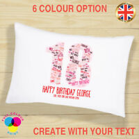 PERSONALISED Cushion Cover Pillow Case Birthday Gift 18th 21st 30th 40th 50th