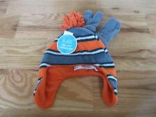 THE CHILDREN'S PLACE Orange Gray Fleece Snow Hat Mitten Retail 14.95 SZ M NEW