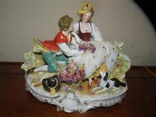 "antique Capodimonte porcelain figurine courting couple & spaniel appx. 11"" x  8"""