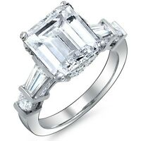 2.80 Ct Emerald Cut Baguette & Round Diamond Engagement Ring H VVS2 GIA Platinum