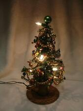 "VINTAGE CHRISTMAS TREE 12"" TALL, ALL BEADED W/MERCURY GLASS ORNAMENTS"
