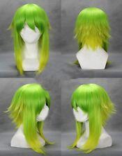 Green Mixed VOCALOID GUMI COBALT Medium Short flip Out Anime Cosplay Wig