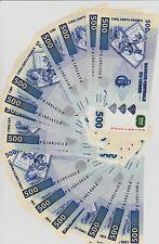 LOT, Congo D. R. 20 x 500 Francs, 2002, P-96, UNC