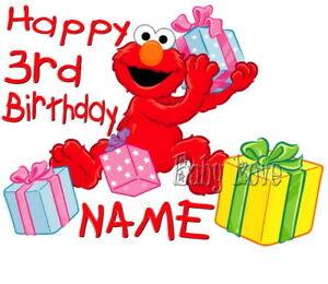 IRON ON TRANSFER PERSONALISED BIRTHDAY AND NUMBER ELMO