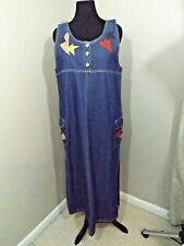 ADRIANA SPORT Dark Sleeveless Stars Stripes Hearts Denim Jumper Dress Sz XL