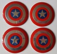 4x Captain America New Wheel Center Cover Decor Sticker Emblem 56mm For All Cars