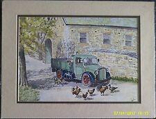 Monté aquarelle signé S Foster. Vintage camion avec les animaux et les poulets