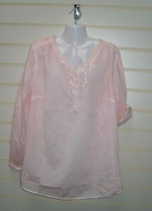 Sheego Women's Size 16 Top Tunic Rose Pink Wash Out Look   BNWT  G050