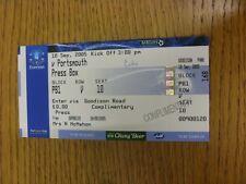 10/09/2005 BIGLIETTO: Everton v Portsmouth [PRESS Box]. grazie per la visualizzazione di questa IT