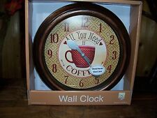 COFFEE CLOCK COFFEE IS A HUG IN A MUG 9.5 INCHES KITCHEN RESTAURANT SHOP NEW