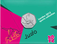 2012 50p OLYMPIC 17/29 JUDO COIN ON CARD BRILLIANTLY UNCIRCULATED !