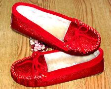 NIB/NEW  MINNETONKA Cally Red Glitter Moccasin Faux Fur Slipper Shoes Size 9