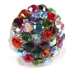 SoHo® großer Strassring Halbkugel Kristalle kunterbunt bunt farbenfroh altsilber