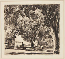 Listed American Artist Gifford Beal, Signed Original Etching, River Side Town