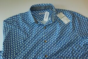 Tommy Bahama Camp Shirt Pacific Geos Sky Blue T322148 100% Silk Large L
