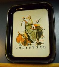 "VINTAGE NORMAN ROCKWELL METAL CHRISTMAS TRAY 1975 10.5"" X 13"""