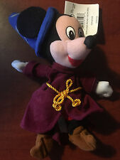 New Disney Store Fantasia Mickey Mouse Sorcerer Plush Bean Bag Beanie With Tag
