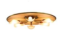 Decken Leuchte Netzgitter Messing & Acryl XL Ø 61 cm Erco Lampe Vintage 50er