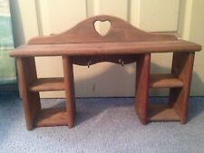 Home Interiors Pine Wood Heart Nook Shelf With Key Hooks