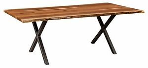 Amish Xavier Trestle Dining Table Industrial X Metal Base Solid Wood Live Top