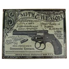 Vintage Smith&Wesson Revolver Gun Ad Tin Sign US Made Garage Bar Pub Wall Decor