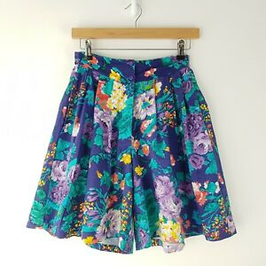 Vintage Floral Print Culottes Shorts Multi Coloured Bright Size XS 6-8 India