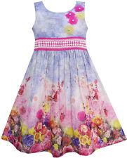Robe Fille Réservoir Rose Jardin Fleur Imprimer Coton Pourpre 4-12 ans