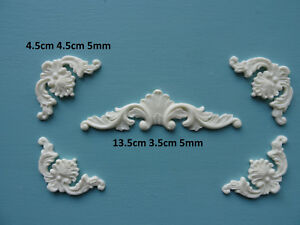 Decorative center and corners x 4 applique onlay resin furniture mouldings 048A
