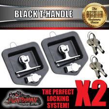 X2 Black T Handle Lock & Studs Flush Mount, Stainless Steel Tool Box Trailer