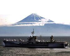 New 8x10 Photo: Navy Command Ship USS BLUE RIDGE Steams Past Mount Fuji, Japan