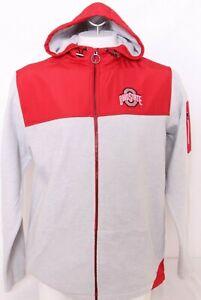 NEW Ohio State Buckeyes Colosseum Gray Full Zip Fleece Hooded Jacket Men's L